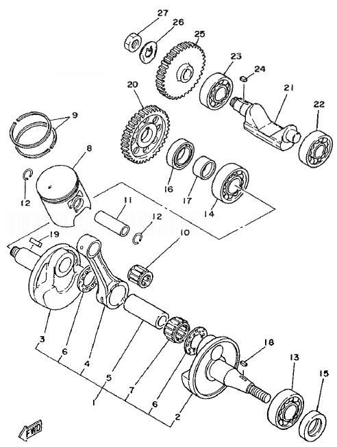 YAMAHA TZR125 Crankshaft. Piston