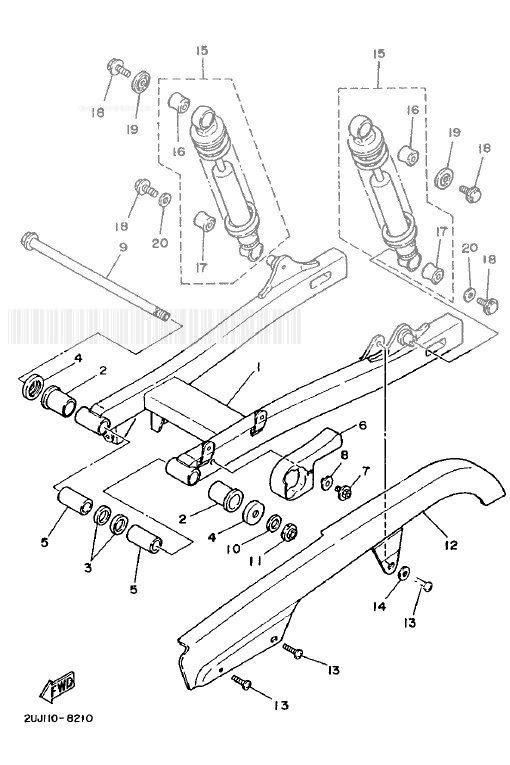 YAMAHA XV250S VIRAGO Rear Arm. Suspension