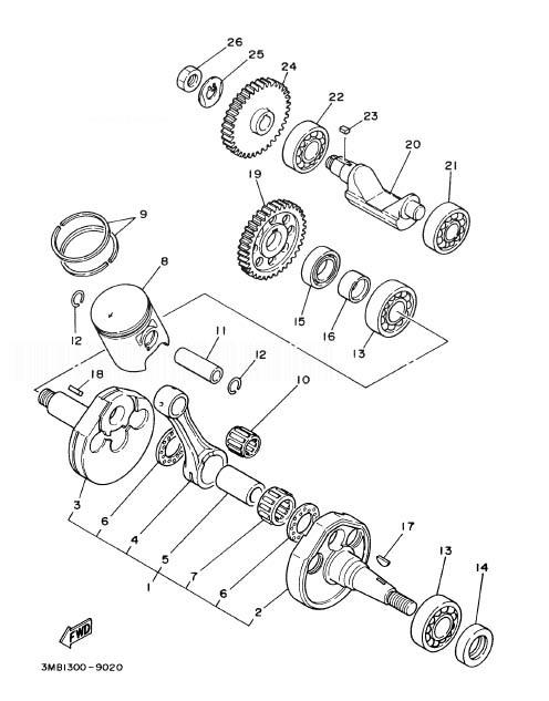 YAMAHA DT125R Crankshaft. Piston