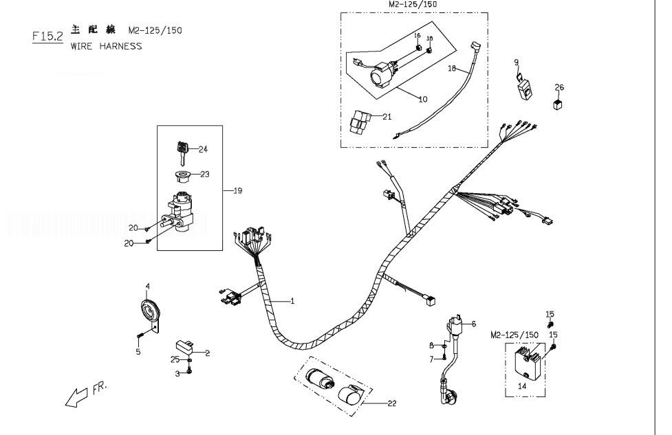 PGO G-MAX 125 Wire Harness