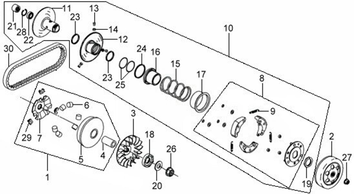 SYM MIO 100 Driven Pulley?movable Drive Face