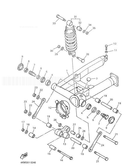 YAMAHA XJ900S Diversion Rear Arm. Suspension