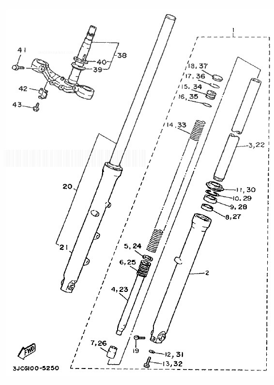 YAMAHA XV535 VIRAGO Front Fork
