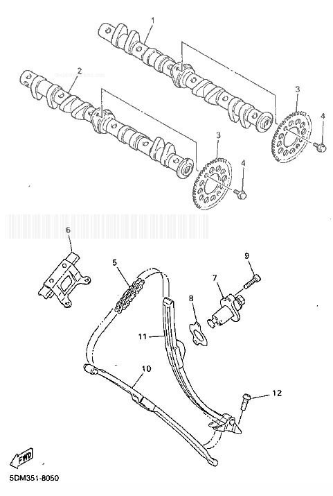 YAMAHA FZS600 Fazer Camshaft. Chain