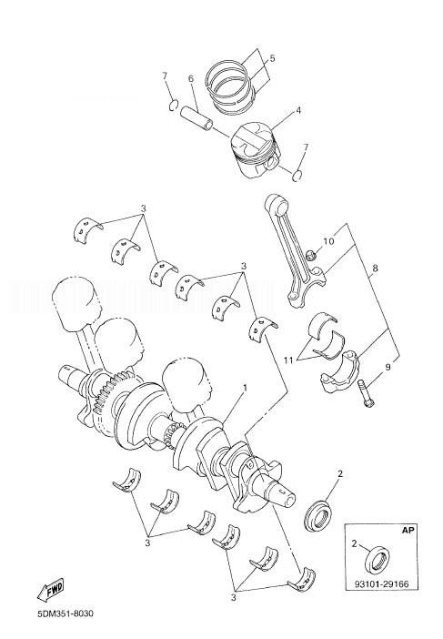YAMAHA FZS600 Fazer Crankshaft. Piston