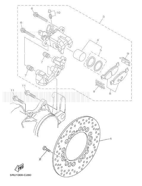 YAMAHA YP400 MAJESTY Rear Brake Caliper