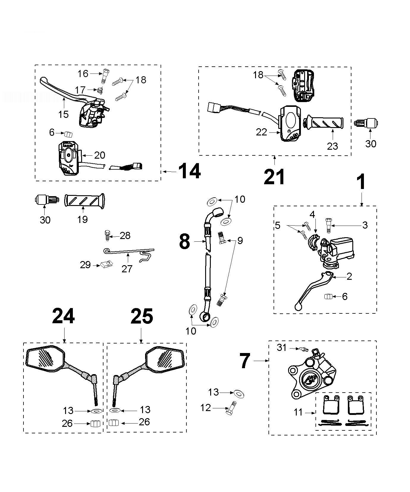 PEUGEOT LUDIX BLASTER 50 Brake Caliper-mirror-grip