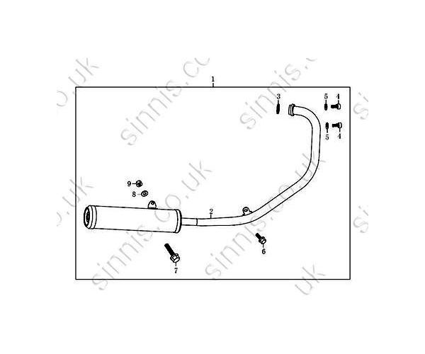 SINNIS STEALTH 125 (QM125-2D) Exhaust (C2)