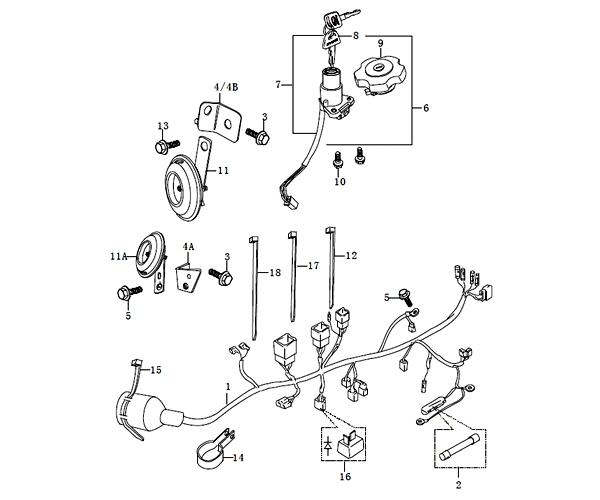 SINNIS APACHE-BLADE 125 (QM125GY-2B) Wiring Harness (C12)