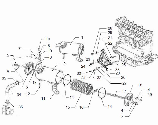 VETUS VF5.250E Marine Diesel Engine Heat Exchanger VF5