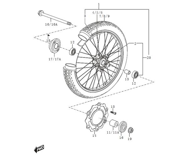 SINNIS APACHE 125 Front Wheel (blade) (C30)