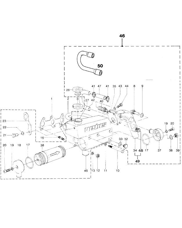 VETUS M3.10 Marine Diesel Engine Heat Exchanger Housing