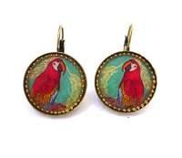 Red Parrot Earrings by Iris Design | aJudaica.com