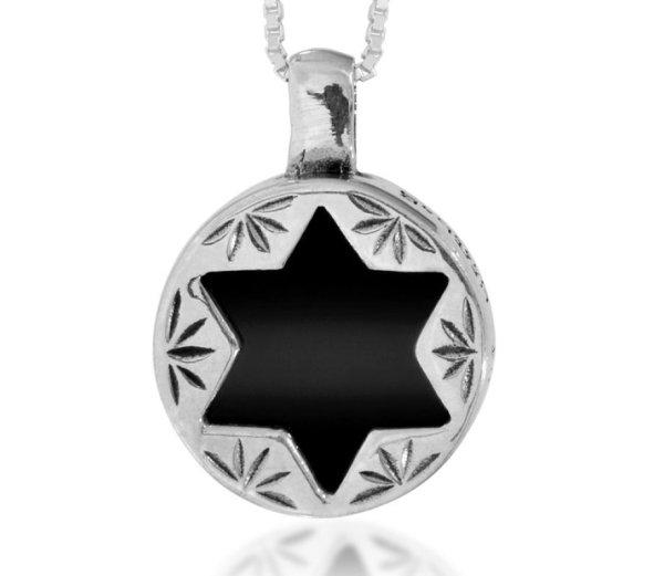 Silver Pendant With Star Of David Onyx Haari Jewelry