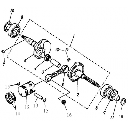 Crankshaft, Piston (Adly ATV 90cc 2T)