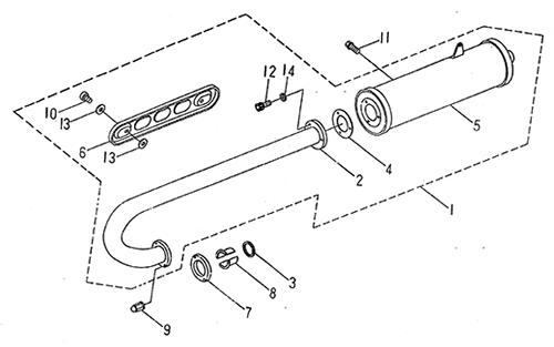 Exhaust Muffler (LRX/SMC Blast ATV 170)