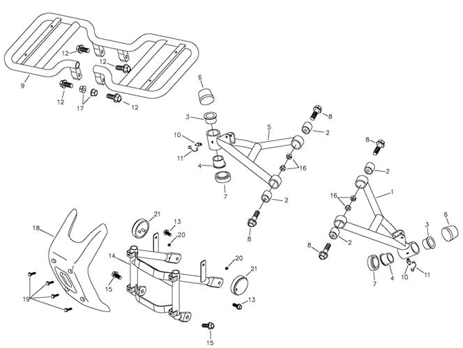 Arm, Floor Panel, Bump (Adly ATV 90II 4T (CVT))