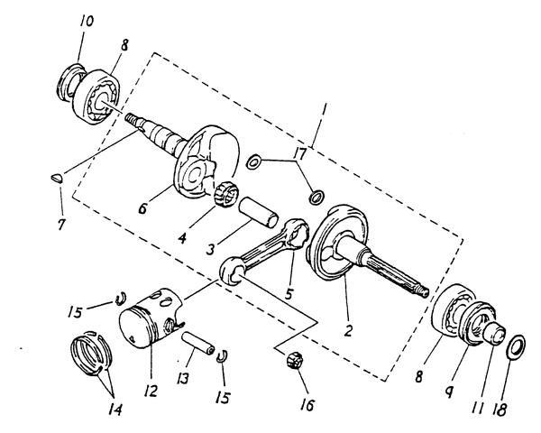 Crankshaft, Piston (Blazer 90cc ATV)