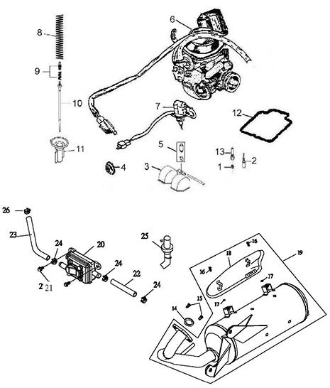 Exhaust Muffler, Carburetor (Thunder Bike 150)