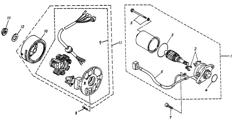 Generator, Starting Motor (Adly ATV 90cc 2T)
