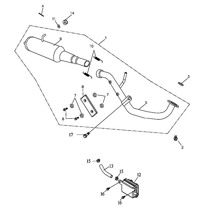 Exhaust (Adly Atv 100D)