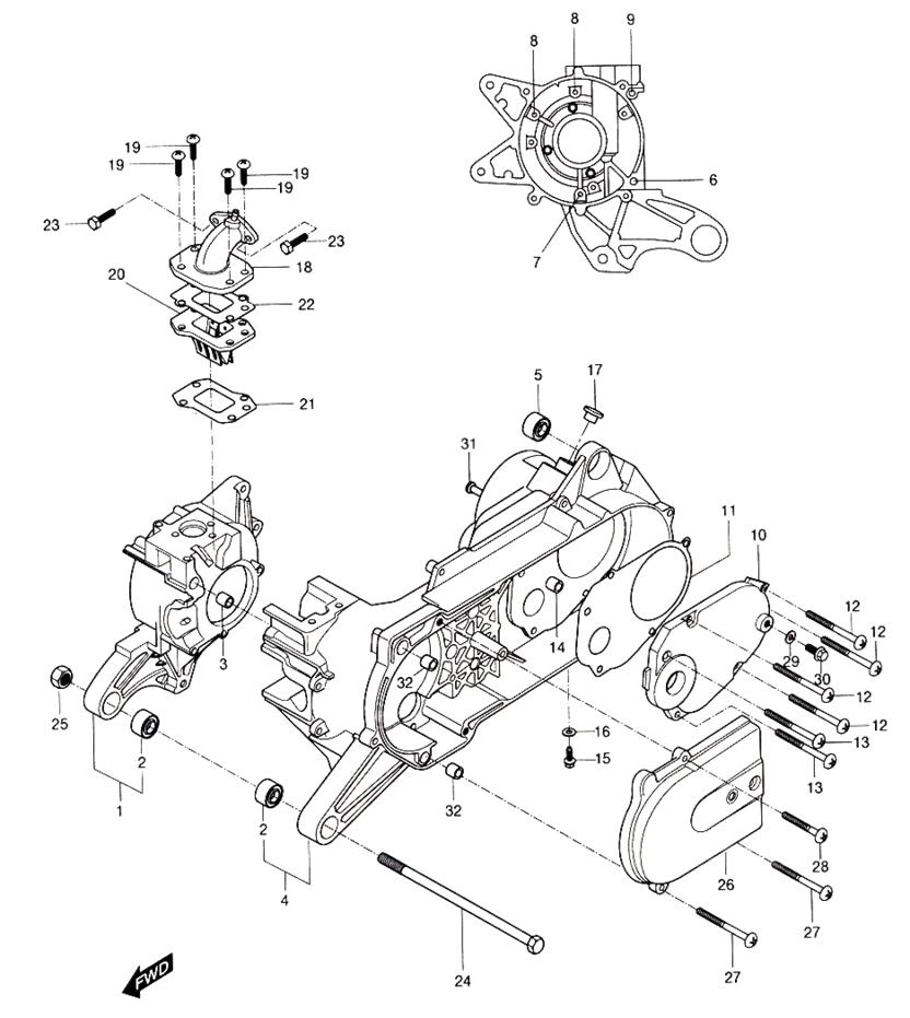 Crankcase (Hyosung Sense SD-50 Scooter)