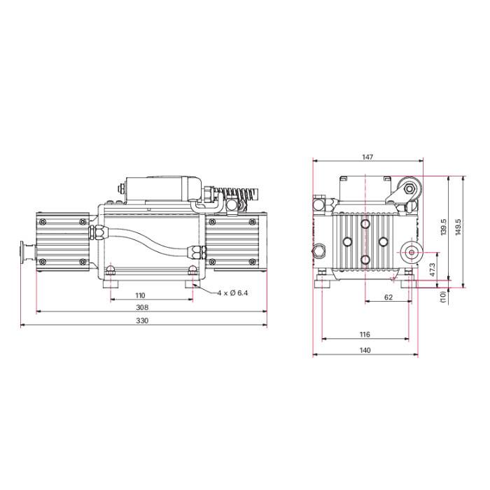 Pfeiffer Vacuum MVP 015-4 Diaphragm Vacuum Pump, 120 V