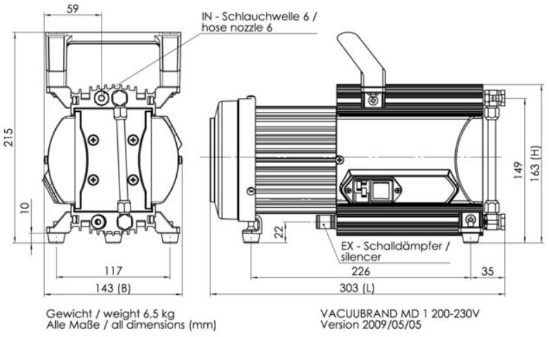 Vacuubrand MD1 Diaphragm Vacuum Pump, Ultimate Pressure 1