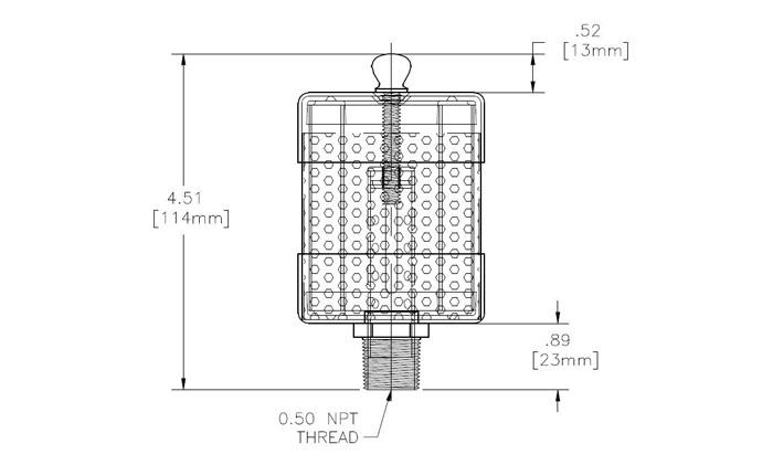 Oil Mist Exhaust Filter, EF Series, 0.50 NPT Thread, EF
