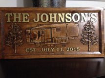 Wood Carved Camper Sign 7 Pattern Choices Personalized