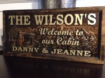 Personalized Carved Wood Sign Cabin