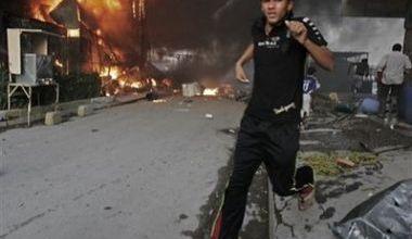 صورة انفجار عبوة ناسفة يودي بحياة  4اشخاص في الدورة جنوبي بغداد