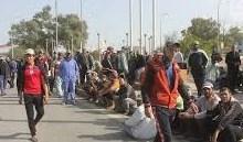 صورة الاجراء والعقود في الديوانية يتظاهرون للمطالبة بحقهم من التعيين