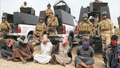 صورة عناصر تنظيم داعش يسلمون أنفسهم للقوات الأمنية شرق الموصل.