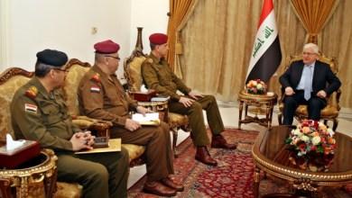 صورة معصوم يؤكد ضرورة بناء جيش عراقي وطني ويدعوا لحماية المدنيين