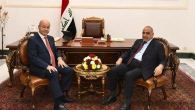 صورة صالح يستقبل عبد المهدي ويؤكد اهمية دعم الحكومة في تنفيذ برنامجها السياسي والخدمي!