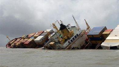 صورة النقل : غرق سفينة ايرانية في المياه العراقية