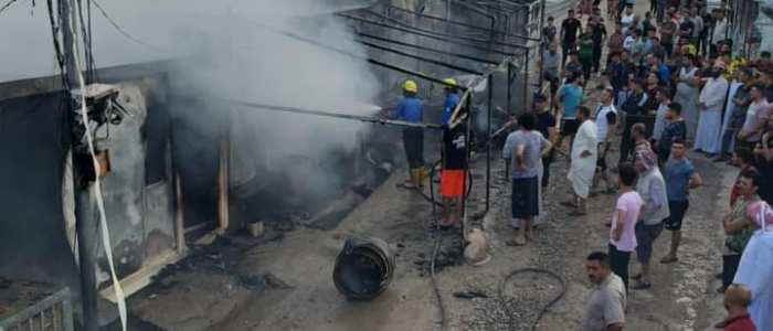 حريق يلتهم عدد من كرفانات النازحين في دهوك