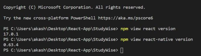 check react and react native version from command line