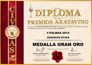 4 Palmas 2014 Diploma Medalla GRAN ORO CIVAS 2016 © akataVino.es