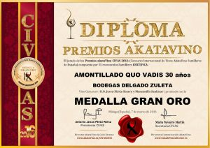 Amontillado Quo Vadis Diploma Medalla GRAN ORO CIVAS 2016 © akataVino.es