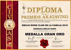 Emilio Moro Clon de la Familia 2010 Diploma Medalla GRAN ORO CIVAS 2016 © akataVino.es