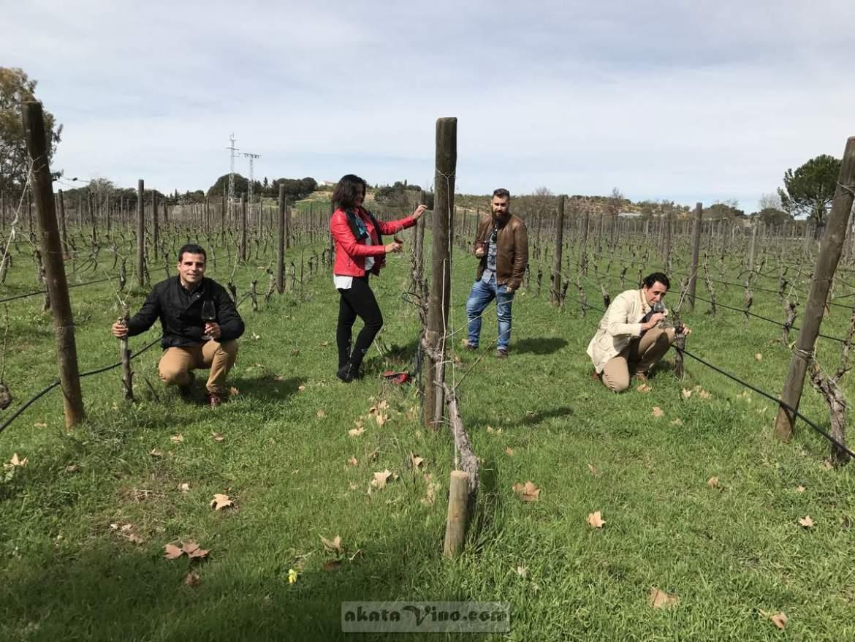El equipo de AkataVino wineXtreme (María Navarro & Antonio Jesús) junto a Marcos Ternero y Rubén Sánchez en los viñedos de Bodegas Lunares