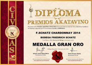 F.Schatz Chardonnay 2014 Diploma Medalla GRAN ORO CIVAS 2016 © akataVino.es