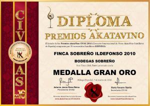Finca Sobreño ildefonso 2010 Diploma Medalla GRAN ORO CIVAS 2016 © akataVino.es