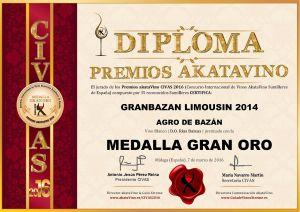Granbazan Limousin 2014 Diploma Medalla GRAN ORO CIVAS 2016 © akataVino.es