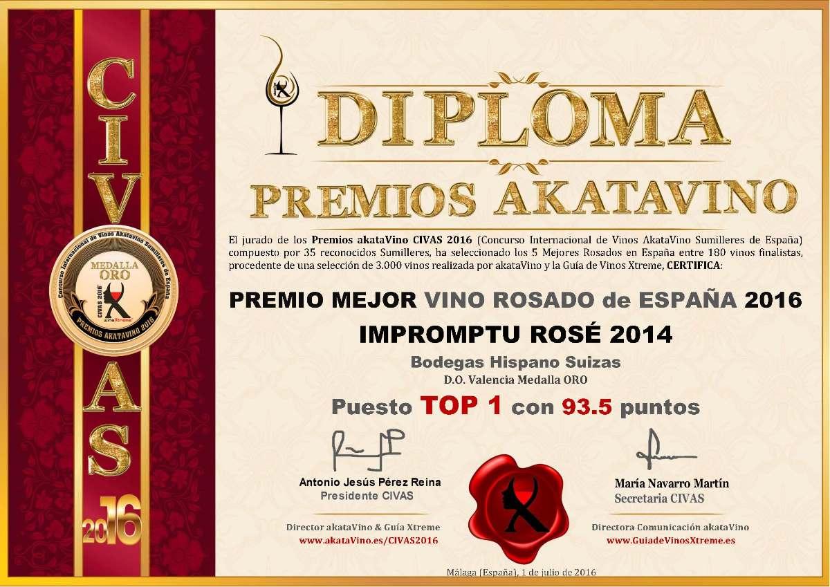 Impromptu rose 2014 TOP 1 Mejor Rosado de España 2016 © Ranking AkataVino