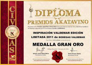 Inspiracion Valdemar Edicion Limitada 2011 Diploma Medalla GRAN ORO CIVAS 2016 © akataVino.es