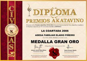 La Coartada 2009 Diploma Medalla GRAN ORO CIVAS 2016 © akataVino.es