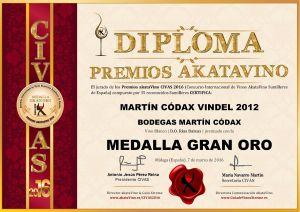 Martin Codax Vindel 2012 Diploma Medalla GRAN ORO CIVAS 2016 © akataVino.es